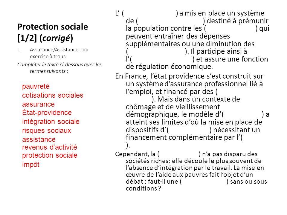 Protection sociale [1/2] (corrigé)
